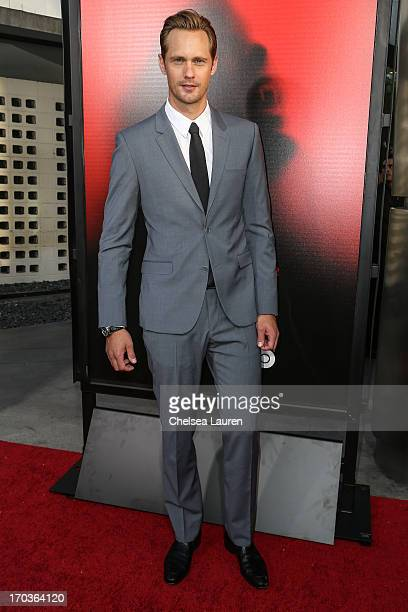 Actor Alexander Skarsgard arrives at HBO's True Blood season 6 premiere at ArcLight Cinemas Cinerama Dome on June 11 2013 in Hollywood California
