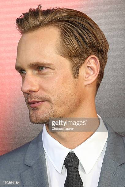 Actor Alexander Skarsgard arrives at HBO's 'True Blood' season 6 premiere at ArcLight Cinemas Cinerama Dome on June 11 2013 in Hollywood California