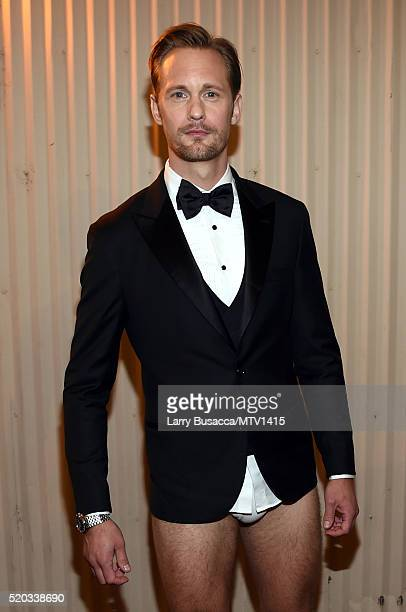 Actor Alexander Skarsgard attends the 2016 MTV Movie Awards at Warner Bros Studios on April 9 2016 in Burbank California MTV Movie Awards airs April...