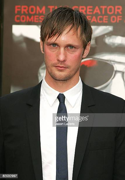 Actor Alexander Skarsgard attends the Los Angeles premiere of the HBO Films' miniseries 'Generation Kill' at the Paramount Theater on July 8 2008 in...