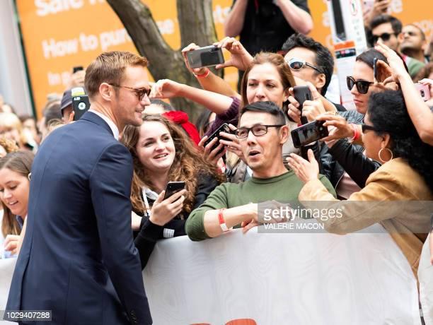 Actor Alexander Skarsgard attends the 'The Hummingbird Project' premiere during the Toronto International Film Festival on September 8 in Toronto...