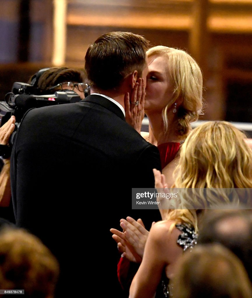 Actor Alexander Skarsgard kisses actress Nicole Kidman as he goes to accept Outstanding Supporting Actor in a Limited Serier or Movie for 'Big Little Lies' with actor during the 69th Annual Primetime Emmy Awards at Microsoft Theater on September 17, 2017 in Los Angeles, California.