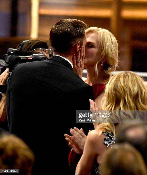 Actor Alexander Skarsgard kisses actress Nicole Kidman as he goes to accept Outstanding Supporting Actor in a Limited Serier or Movie for Big Little...