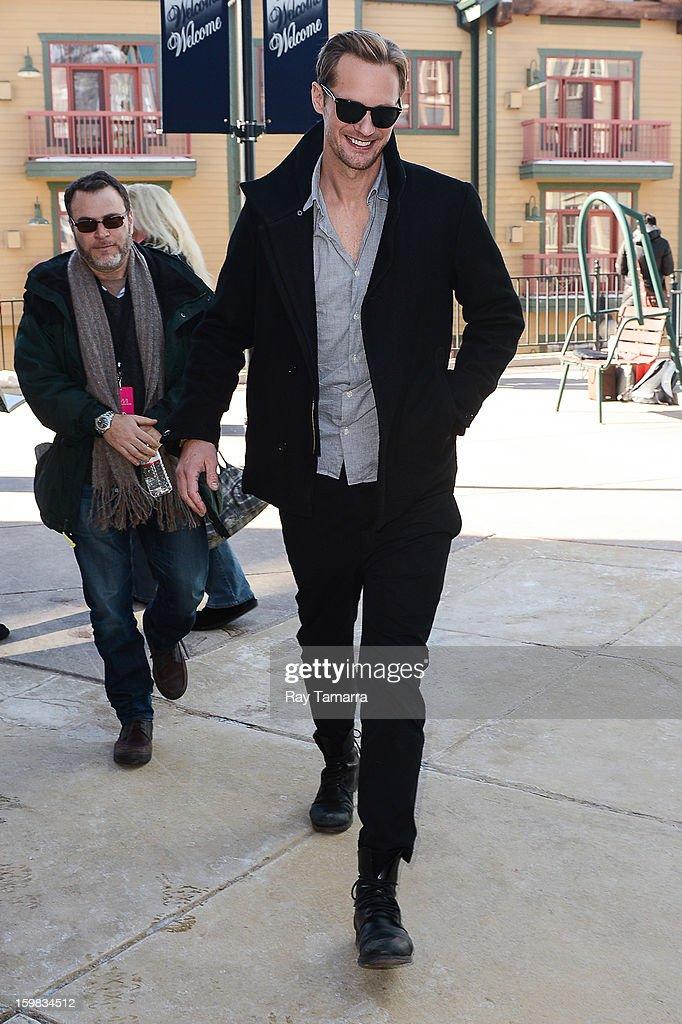 Actor Alexander Skarsgard leaves the Wireimage portrait studio on January 20, 2013 in Park City, Utah.