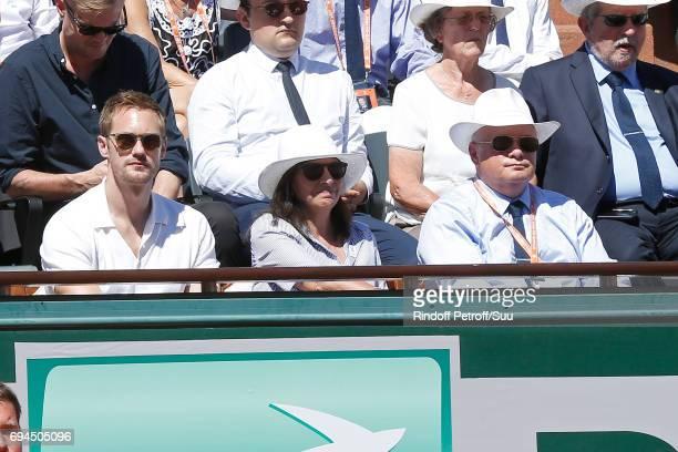 Actor Alexander Skarsgard, Mayor of Paris Anne Hidalgo and President of French Tennis Federation Bernard Giudicelli attend the Women Final of the...
