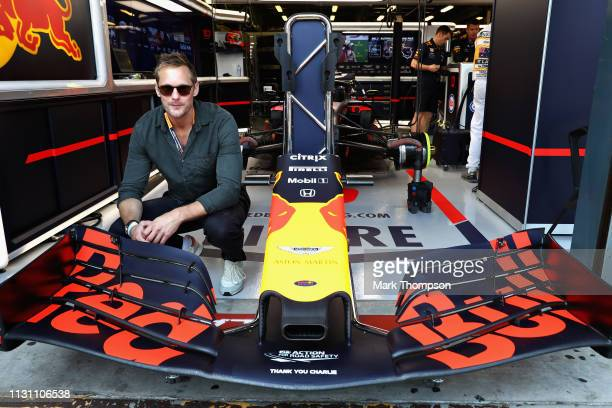 Actor Alexander Skarsgard poses for a photo outside the Red Bull Racing garage before the F1 Grand Prix of Australia at Melbourne Grand Prix Circuit...