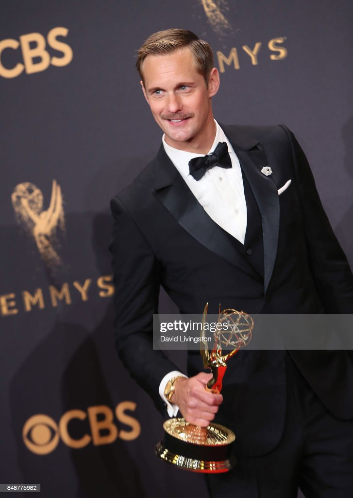 Actor Alexander Skarsgard poses in the press room at the 69th Annual Primetime Emmy Awards at Microsoft Theater on September 17, 2017 in Los Angeles, California.