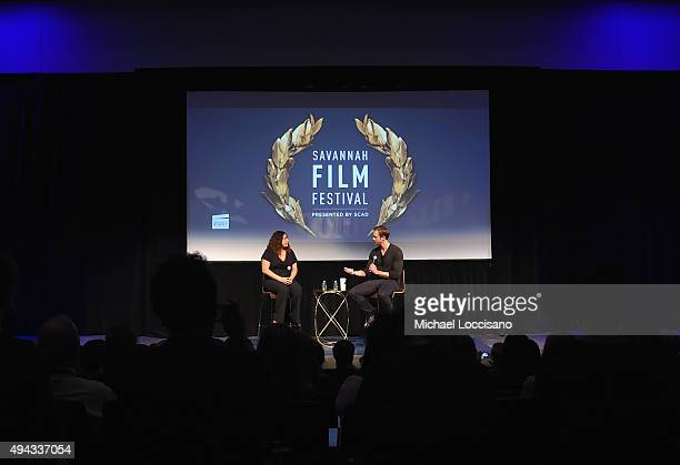 Actor Alexander Skarsgard speaks on stage during QA for 'The Diary of a Teenage Girl' at SCAD Museum of Arts during Day Three of the18th Annual...