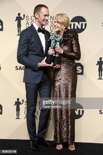 Actor Alexander Skarsgard winner of Outstanding Performance by a Male Actor in a Miniseries or Television Movie for 'Big Little Lies' and actor...
