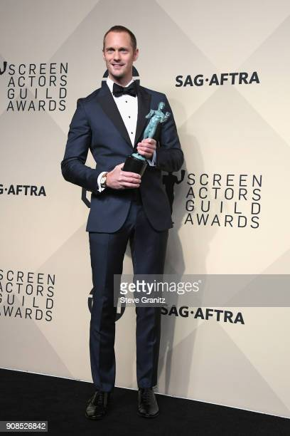 Actor Alexander Skarsgard, winner of the award for Outstanding Performance by a Male Actor in a Television Movie or Miniseries for 'Big Little Lies,'...