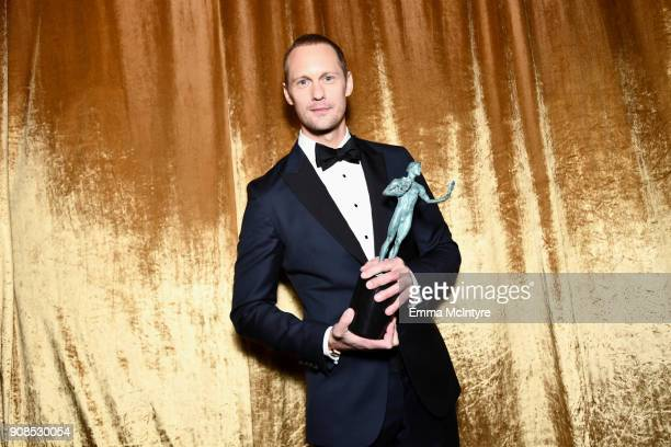 Actor Alexander Skarsgard winner of the Outstanding Performance by a Male Actor in a Television Movie or Limited Series award for 'Big Little Lies'...
