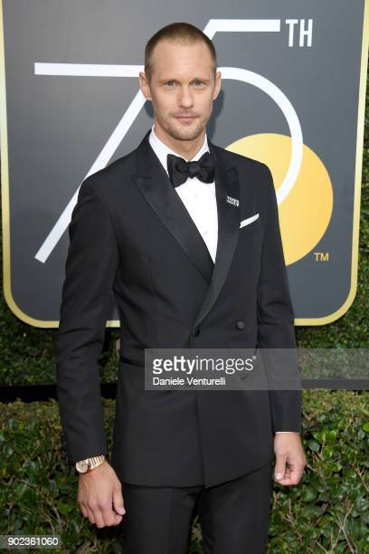 Actor Alexander Skarsgård attends The 75th Annual Golden Globe Awards at The Beverly Hilton Hotel on January 7 2018 in Beverly Hills California
