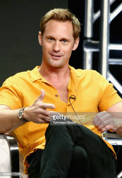 Actor Alexander Skarsgård of 'The Little Drummer Girl' speaks onstage during the AMC Networks portion of the Summer 2018 TCA Press Tour at The...