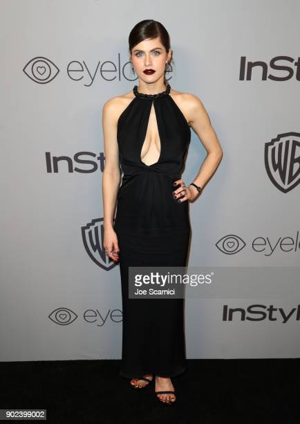 Actor Alexandra Daddario attends the 2018 InStyle and Warner Bros 75th Annual Golden Globe Awards PostParty at The Beverly Hilton Hotel on January 7...