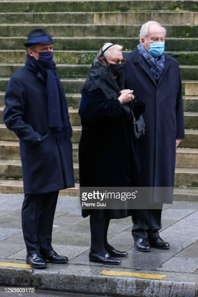Actor Alexandre Brasseur and Michele Cambon-Brasseur attend Claude Brasseur's funeral at Saint Roch Church on December 29, 2020 in Paris, France.