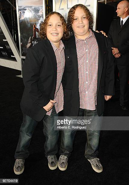 Actor Alexandre Haussmann and actor Philippe Haussmann arrive at the premiere of Columbia Pictures' 2012 at the Regal Cinemas LA live on November 3...