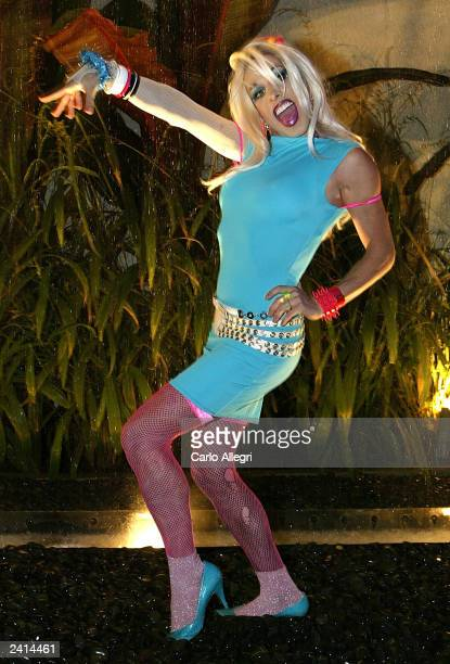Actor Alexis Arquette poses for a photo during the after party of the movie 'Wasabi Tuna' at the Arclight Theater on August 20 2003 in Hollywood