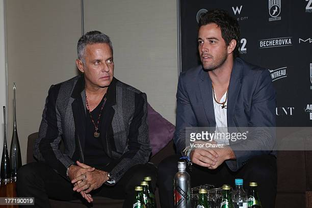 Actor Alexis Ayala and singer Mane de la Parra attend a press conference at W Hotel Mexico City on August 21 2013 in Mexico City Mexico