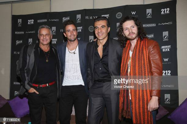Actor Alexis Ayala singer Mane de la Parra actor Adrian Uribe and Abel Gonzalez of 212 Productions attend a press conference at W Hotel Mexico City...