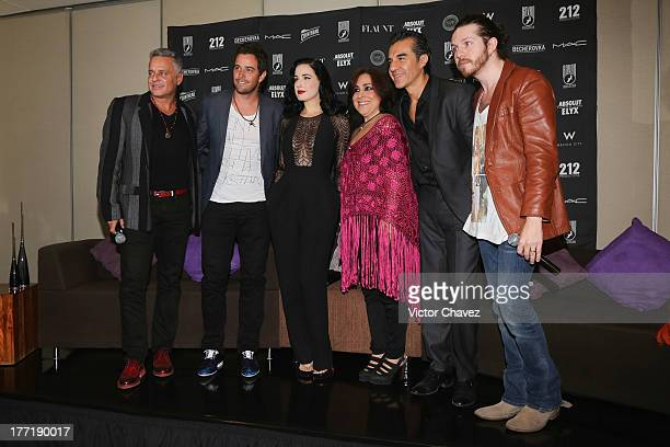 Actor Alexis Ayala singer Mane de la Parra Dita Von Teese actor Adrian Uribe Ingrid Barajas and Abel Gonzalez of 212 Productions attend a press...