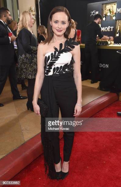 Actor Alexis Bledel celebrates The 75th Annual Golden Globe Awards with Moet Chandon at The Beverly Hilton Hotel on January 7 2018 in Beverly Hills...