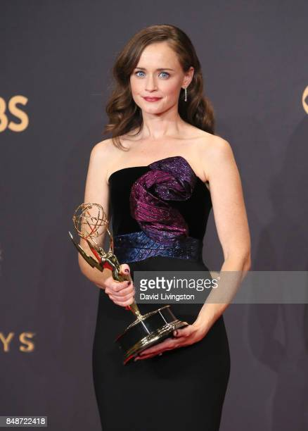 Actor Alexis Bledel of 'The Handmaid's Tale' winner of the award for Outstanding Drama Series poses in the press room during the 69th Annual...