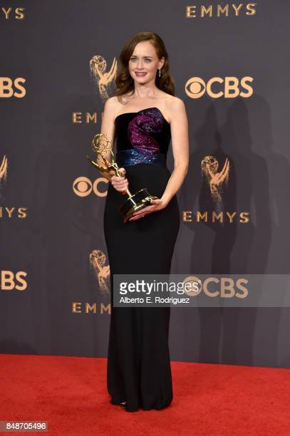 Actor Alexis Bledel of 'The Handmaid's Tale' winner of the Outstanding Drama Series award poses in the press room during the 69th Annual Primetime...
