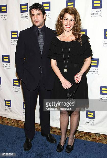 Actor Alexis Georgoulis and actress Nia Vardalos arrive at the Human Rights Campaign's annual Los Angeles Gala on March 15 2008 in Los Angeles...