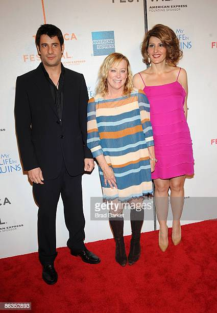 "Actor Alexis Georgoulis, Fox Searchlight CEO Nancy Utley, and actress Nia Vardalos attend the premiere of ""My Life in Ruins"" during the 2009 Tribeca..."