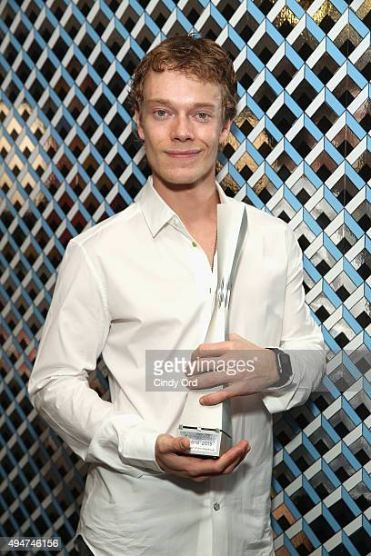 Actor Alfie Allen is posing with his Rising Star Award prior to his presentation during Day Four of 18th Annual Savannah Film Festival Presented By...