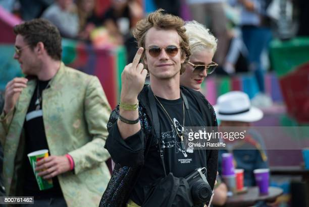 Actor Alfie Allen with Richard Madden are seen at Glastonbury Festival Site on June 25 2017 in Glastonbury England As Glastonbury Festival 2017 comes...