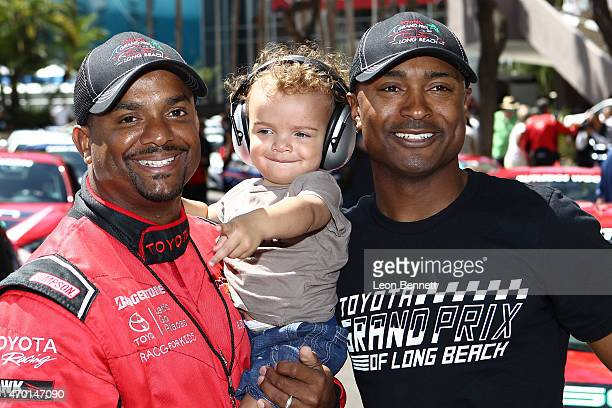 Actor Alfonso Ribeiro Alfonso Ribeiro Jr and NHRA Top Fuel champion Antron Brown attend the Toyota Long Beach Pro/Celebrity qualifying race at the...