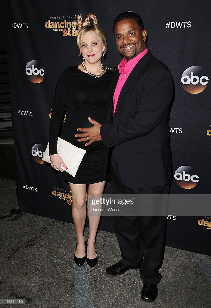 Actor Alfonso Ribeiro (R) and wife Angela Unkrich attend ABC's 'Dancing With The Stars' season premiere at HYDE Sunset: Kitchen + Cocktails on March 16, 2015 in West Hollywood, California.