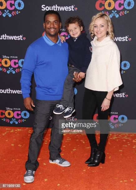 Actor Alfonso Ribeiro wife Angela Unkrich and son Alfonso Lincoln Ribeiro Jr attend the premiere of 'Coco' at El Capitan Theatre on November 8 2017...