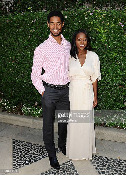 Actor Alfred Enoch and actress Aja Naomi King attend the Rape Foundation's annual brunch on September 25 2016 in Beverly Hills California