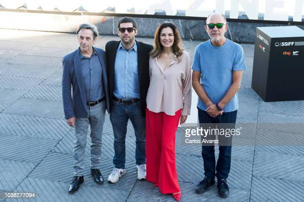 Actor Alfredo Castro director Benjamin Naishtat actress Andrea Frigerio and actor Dario Grandinetti attend 'Rojo' photocall during 66th San Sebastian...