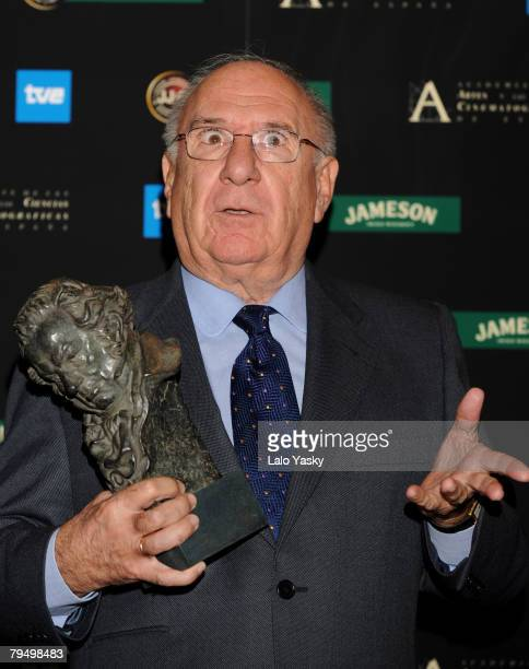 Actor Alfredo Landa poses at the Press Room after the Goya 2008 Cinema Awards Ceremony at the Palacio de Congresos on Febraury 3 2008 in Madrid Spain