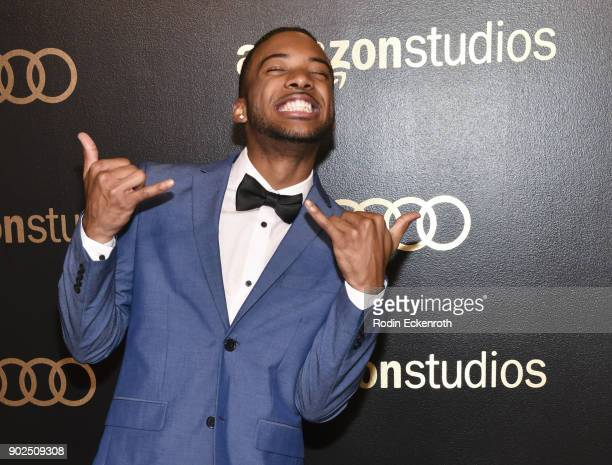 Actor Algee Smith arrives at the Amazon Studios Golden Globes Celebration at The Beverly Hilton Hotel on January 7 2018 in Beverly Hills California