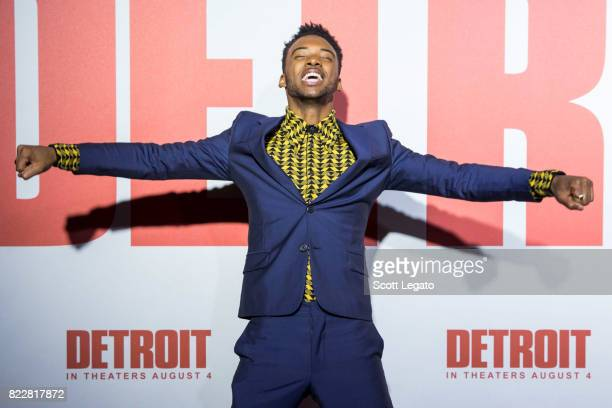 Actor Algee Smith attends the 'Detroit' world premiere at Fox Theatre on July 25 2017 in Detroit Michigan
