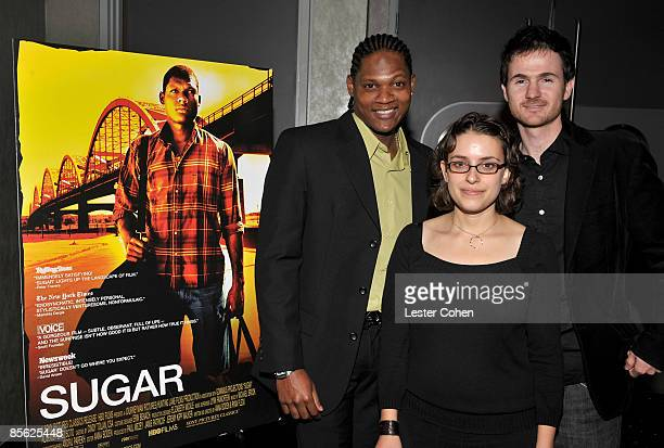 Actor Algenis Perez Soto and directors Anna Boden and Ryan Fleck arrive at the Los Angeles premiere of 'Sugar' held at the Silver Screen Theater at...