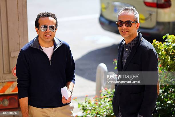 Actor Ali Ghorbanzadeh and Director Saman Moghadam look on during 'Sperm Whale' Movie on October 16 2014 in Tehran Iran