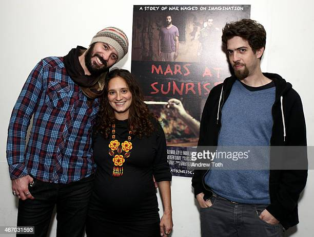 Actor Ali Suliman director Jessica Habie and actor Guy El Hanan attend the 'Mars At Sunrise' screening at Alwan For The Arts on February 5 2014 in...