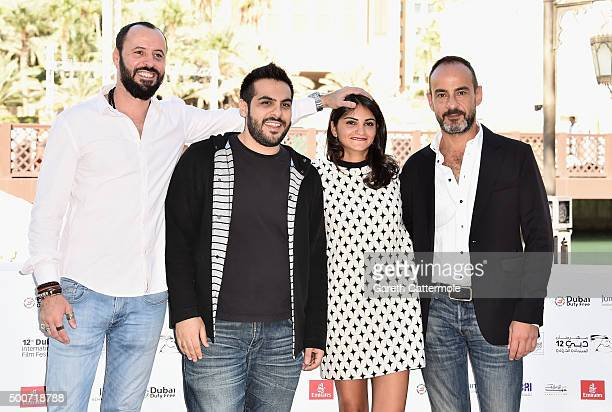 Actor Ali Suliman director Majid Al Ansari actress Ahd Kamel and producer Rami Yasin attend the Zinzana photocall during day two of the 12th annual...