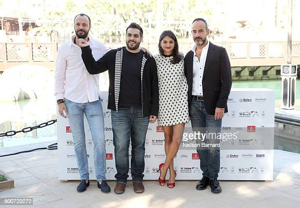 Actor Ali Suliman director Majid Al Ansari actress Ahd Kamel and producer Rami Yasin attend the 'Zinzana ' photocall during day two of the 12th...