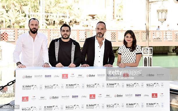 Actor Ali Suliman director Majid Al Ansari producer Rami Yasin and actress Ahd Kamel attend the Zinzana photocall during day two of the 12th annual...
