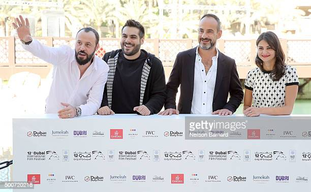 Actor Ali Suliman director Majid Al Ansari producer Rami Yasin and actress Ahd Kamel attend the 'Zinzana ' photocall during day two of the 12th...
