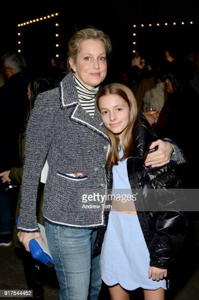 Actor Ali Wentworth and Harper Andrea Stephanopoulos pose on the runway for the Veronica Beard Fall 2018 presentation at Highline Stages on February...