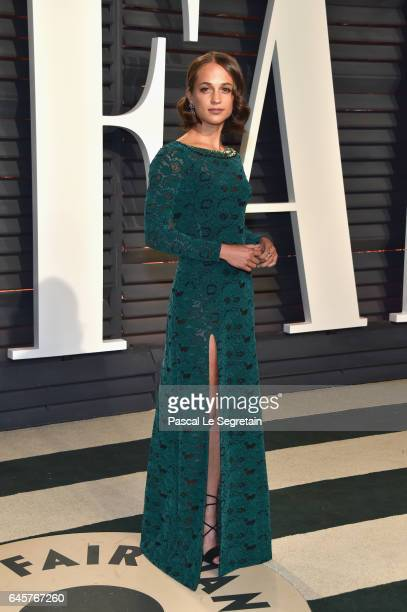 Actor Alicia Vikander attends the 2017 Vanity Fair Oscar Party hosted by Graydon Carter at Wallis Annenberg Center for the Performing Arts on...