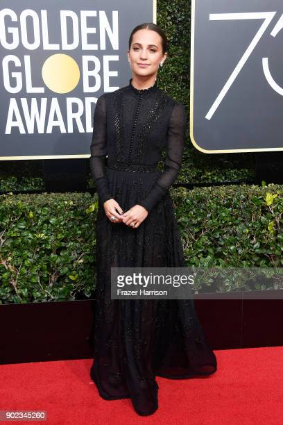 Actor Alicia Vikander attends The 75th Annual Golden Globe Awards at The Beverly Hilton Hotel on January 7 2018 in Beverly Hills California