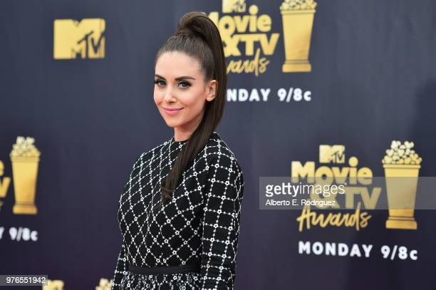 Actor Alison Brie attends the 2018 MTV Movie And TV Awards at Barker Hangar on June 16 2018 in Santa Monica California